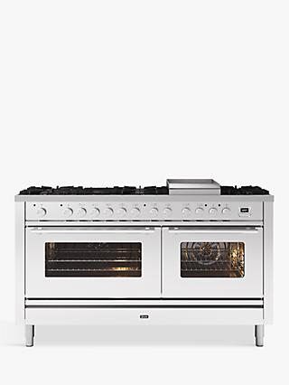 ILVE Roma P15FWE3/SS Double Oven Dual Fuel Range Cooker, A+ Energy Rating, Stainless Steel