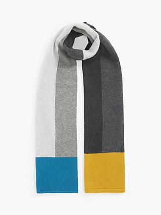 John Lewis & Partners Large Colour Block Cashmere Scarf, Grey/Multi