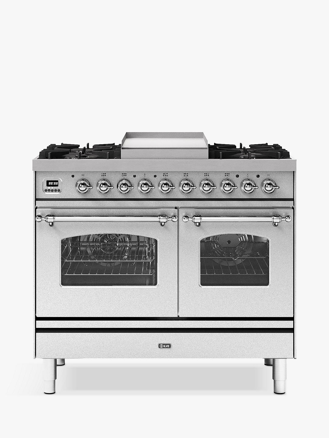 Buy ILVE Milano PD10FNE3/SSC Double Oven Dual Fuel Range Cooker, A+ Energy Rating, 100cm, Stainless Steel Online at johnlewis.com