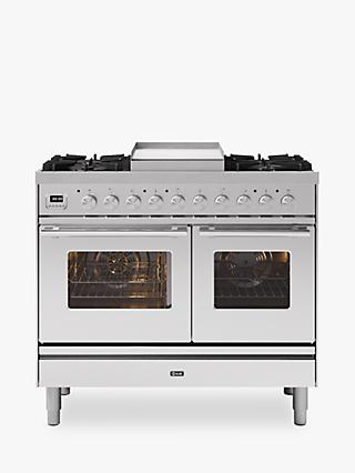 ILVE Roma PD10FWE3/SS Double Oven Dual Fuel Range Cooker, A+ Energy Rating, Stainless Steel