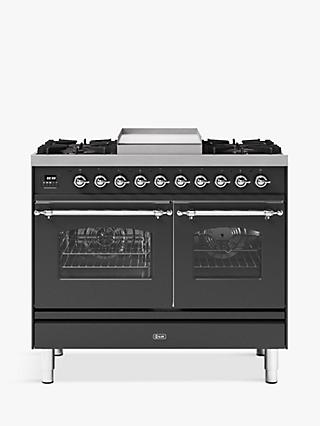 ILVE Milano PD10FNE3/MGC Double Oven Dual Fuel Range Cooker, A+ Energy Rating, 100cm, Matt Graphite
