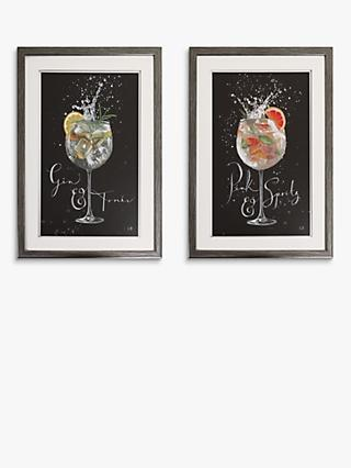 Charlotte Oakley - Cocktails Embellished Framed Print & Mount, Set of 2, 40 x 30cm, Black/Multi
