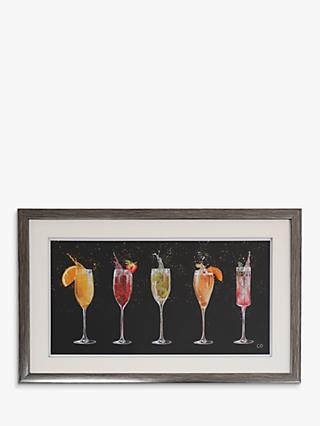 Charlotte Oakley - Champagne Cocktails Framed Print & Mount, 29 x 45cm, Black/Multi