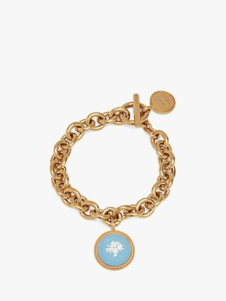 Mulberry Porcelain Tree Chain Bracelet, Gold/Blue