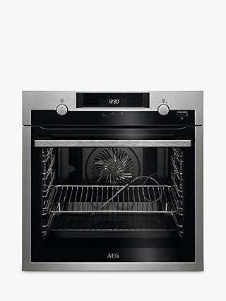 AEG SteamBake BPS556020M Built-in Single Electric Oven, Stainless Steel