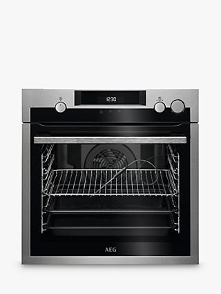 AEG SteamCrisp BSE577221M 59.5cm Built-In Single Electric Oven, A+ Energy Rating, Stainless Steel