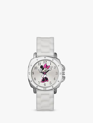 Disney Minnie Mouse MN1064 Children's Silicone Strap Watch, White/Multi