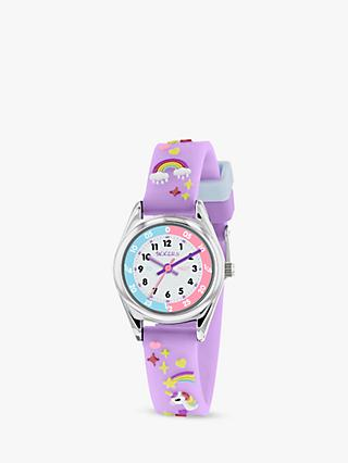 Tikkers TK0145 Children's Unicorn Plastic Strap Watch, Lilac/White