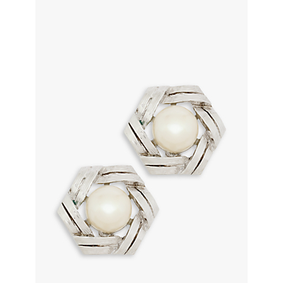 Eclectica Vintage Rhodium Plated Faux Pearl Hexagonal Clip-On Stud Earrings, Silver/Cream