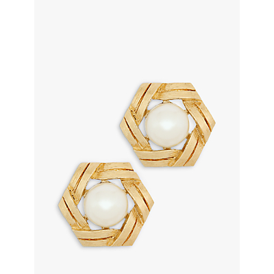 Eclectica Vintage Gold Plated Faux Pearl Hexagonal Clip-On Stud Earrings, Gold/White