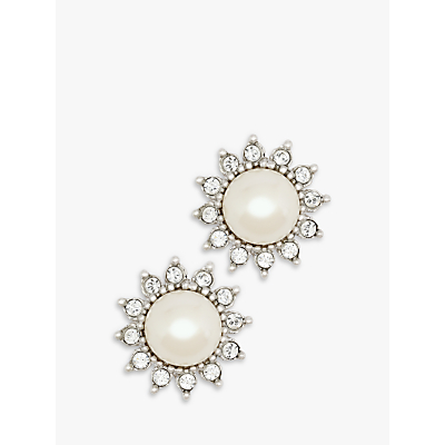 Eclectica Vitnage Chrome Plated Swarovski Crystal and Faux Pearl Flower Stud Earrings, Silver/Cream