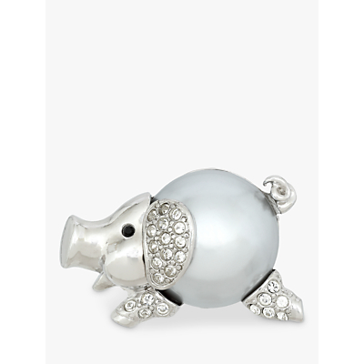 Eclectica Vintage Rhodium Plated Swarovski Crystal and Faux Pearl Pig Brooch, Silver/Grey