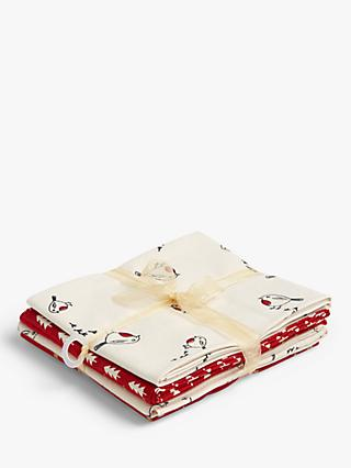 Oddies Textiles Scandinavian Inspired Robin Print Fat Quarter Fabrics, Pack of 5, Red/Cream