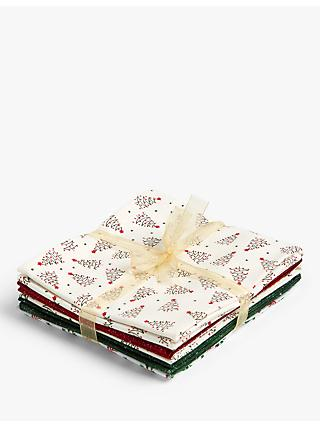 Oddies Textiles Festive Print Fat Quarter Fabrics, Pack of 5, Green/Red/Gold