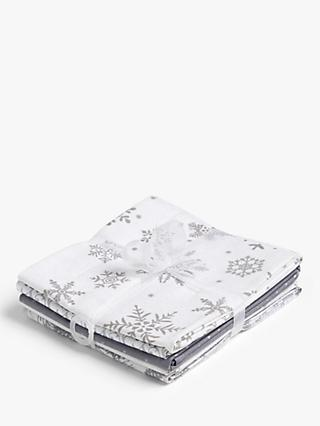 Oddies Textiles Festive Print Fat Quarter Fabrics, Pack of 5, Silver