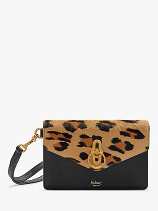 Mulberry Amberley Leopard Silky Calf Leather Phone Clutch Purse, Camel/Black