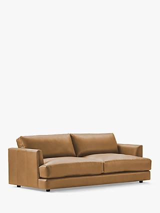 Haven Range, west elm Haven Large 3 Seater Leather Sofa, Ludlow Pecan