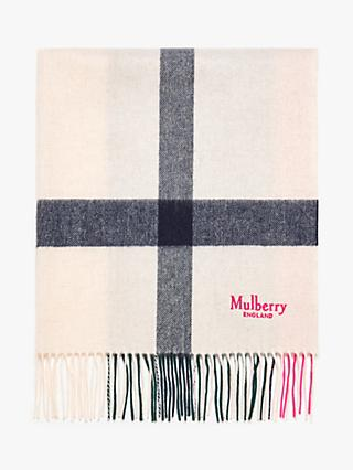 Mulberry Large Check Lambswool Scarf
