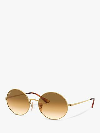 Ray-Ban RB1970 Unisex Oval Sunglasses, Gold/Brown Gradient
