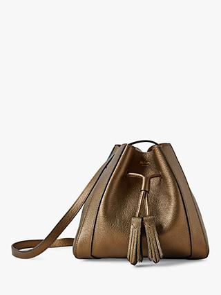 Mulberry Mini Millie Metallic Small Grain Leather Tote Bag, Antique Gold