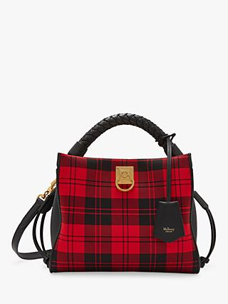 Mulberry Small Iris Tartan & Silky Calf Leather Shoulder Bag, Red