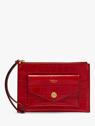 Mulberry Croc Leather Wristlet Pouch, Scarlet
