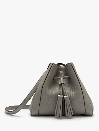 Mulberry Mini Millie Heavy Grain Leather Tote Bag, Charcoal