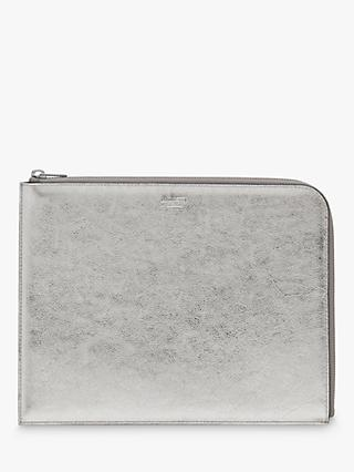 Mulberry Metallic Buffalo Leather Tech Pouch, Silver