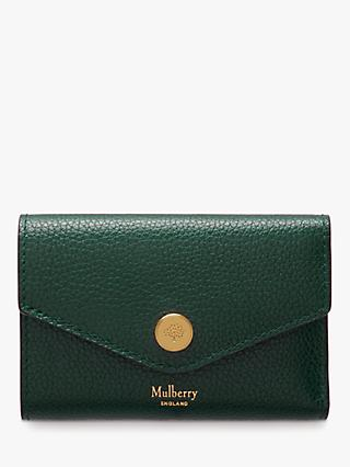 Mulberry Folded Multi-Card Small Classic Grain Leather Wallet, Mulberry Green