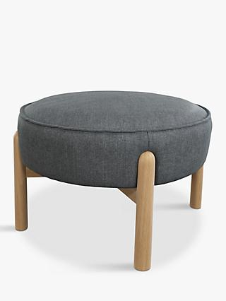 John Lewis & Partners Pillow Footstool, Light Leg, Hatton Steel