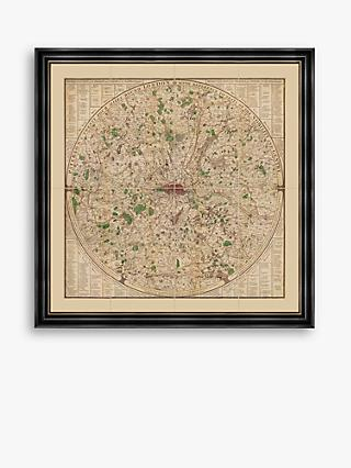 Old Folding Maps - Captain Paterson's 24 Miles Round London Map 1791 Vintage Framed Print & Mount, 75.5 x 75.5cm
