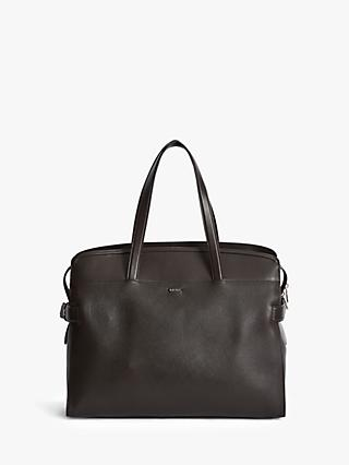 Reiss Harley Leather Tote Bag, Mahogany