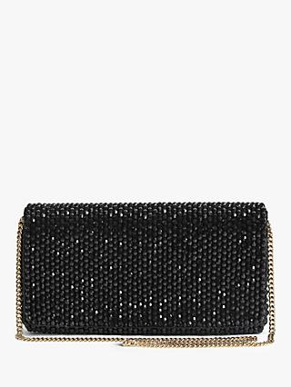 Reiss Zoey Embellished Clutch Bag, Black
