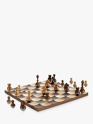 Umbra Wobble Wood Chess Set, Brown