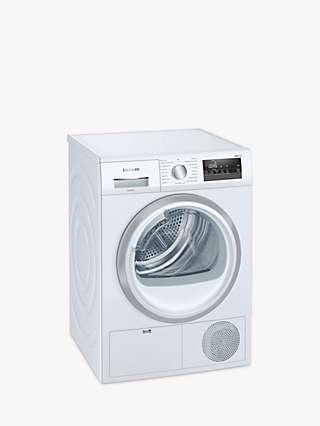 Siemens iQ300 WT45N202GB Condenser Tumble Dryer, 8kg Load, B Energy Rating, White