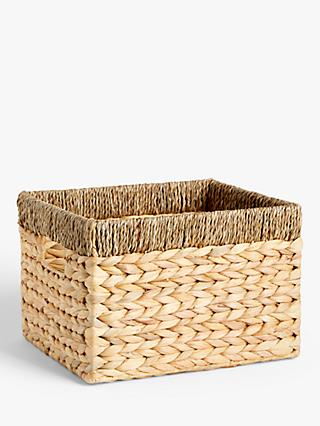 John Lewis & Partners Water Hyacinth Storage Basket with Contrast Trim