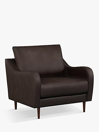 John Lewis & Partners Harp High Back Leather Snuggler, Dark Leg, Demetra Charcoal