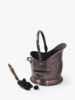 Ivyline Fire Place Coal Bucket & Scoop, Antique Copper, Small