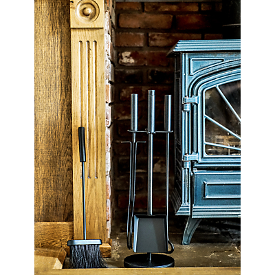ivyline 3 piece iron fireplace set, black