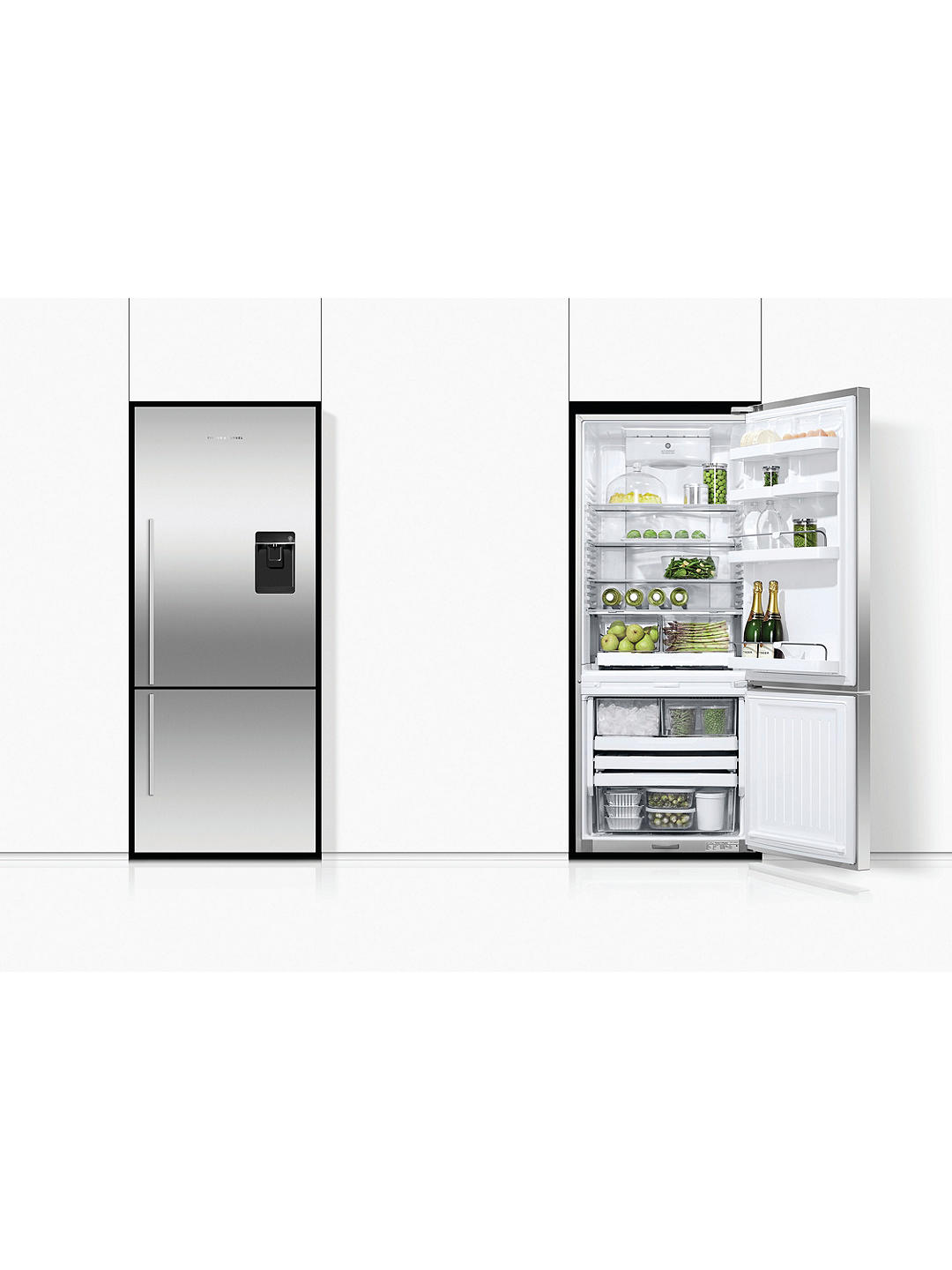 Buy Fisher & Paykel E442BRXFDU4 Freestanding 70/30 Fridge Freezer with Water & Ice Dispenser, A+ Energy Rating, Right-Hand Hinge, 68cm Wide, Stainless Steel Online at johnlewis.com