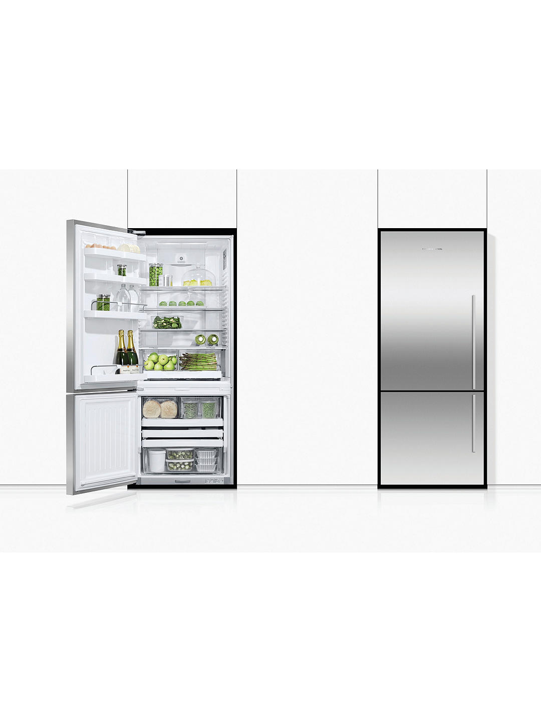 Buy Fisher & Paykel E442BLXFD4 Freestanding 70/30 Fridge Freezer, A+ Energy Rating, Left-Hand Hinge, 68cm Wide, Stainless Steel Online at johnlewis.com
