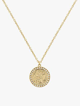 Melissa Odabash Swarovski Crystal St Christopher Round Pendant Necklace, Gold