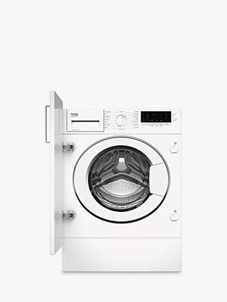 Beko WTIK84111F Integrated Washing Machine, 8kg Load, 1400rpm Spin, White