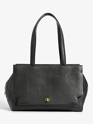Modern Rarity Leather Triple Compartment Tote Bag, Black