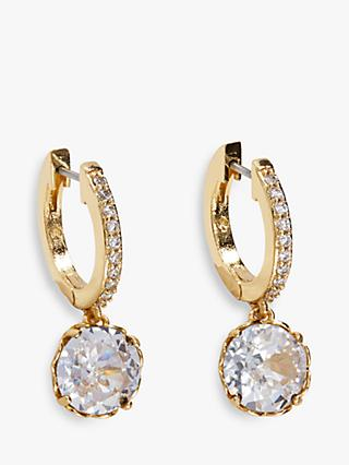 kate spade new york Sparkle Pave Hoop Earrings, Gold/Clear