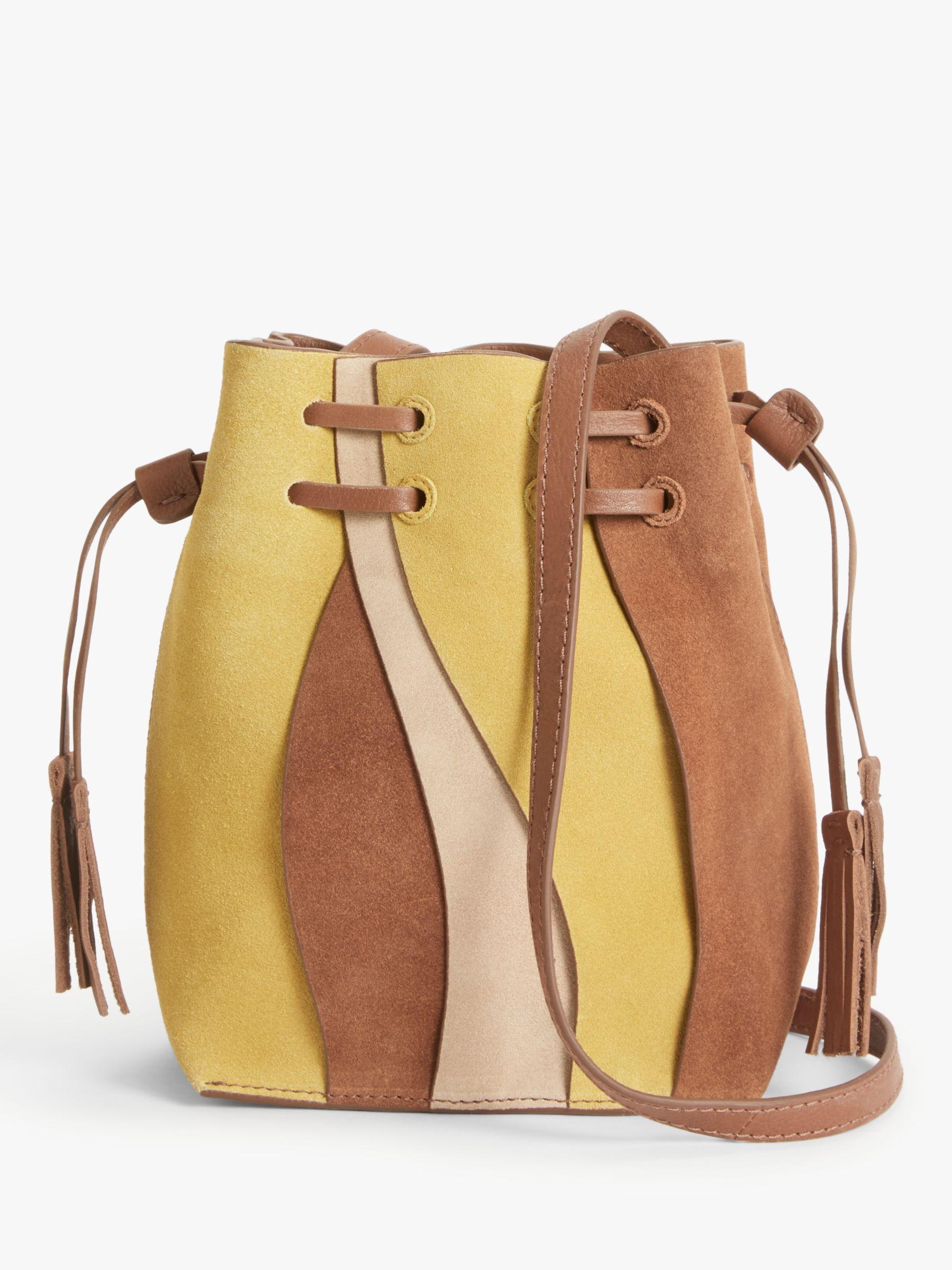 AND/OR Suede Drawstring Bucket Bag, Tan at John Lewis & Partners