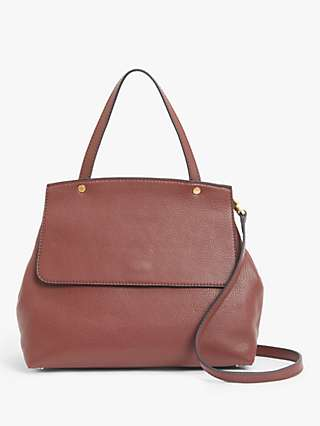 John Lewis & Partners Leather Top Handle Flap Over Cross Body Bag