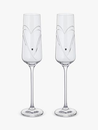 Dartington Crystal Romance Hearts Champagne Flutes, Set of 2, 150ml, Clear