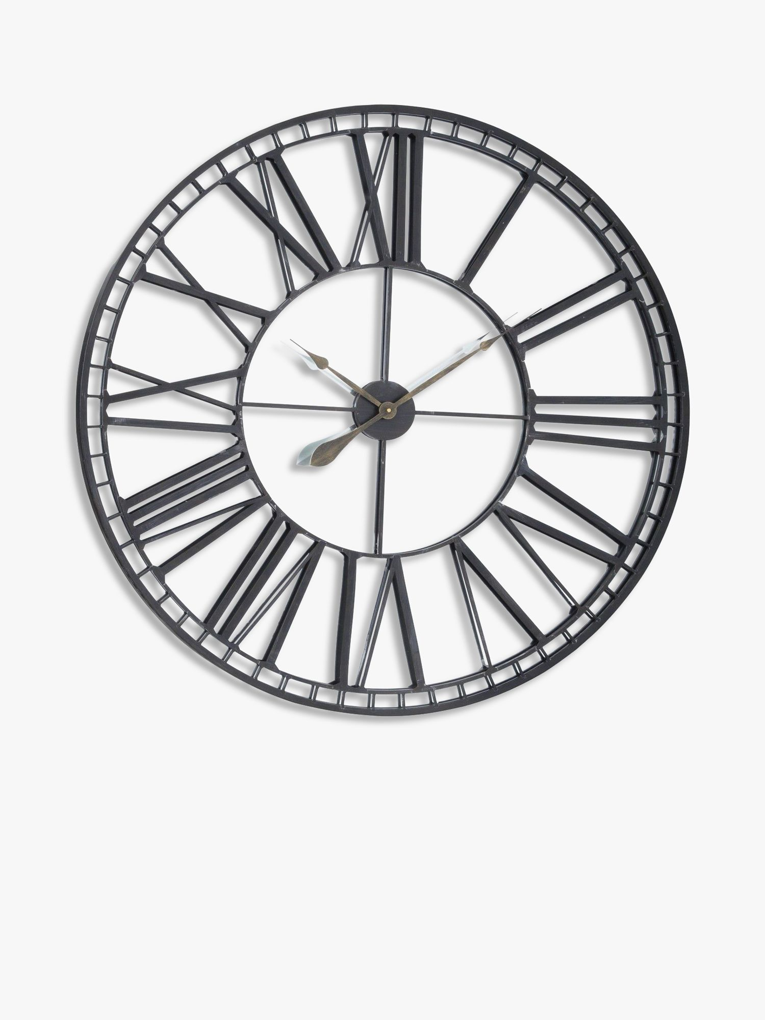 Libra Skeleton Roman Numerals Large Round Mirror Wall Clock, 100cm, Black