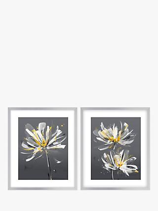 Green Lili - Modern Floral Framed Print & Mount, Set of 2, 63.5 x 53.5cm, Grey/Yellow